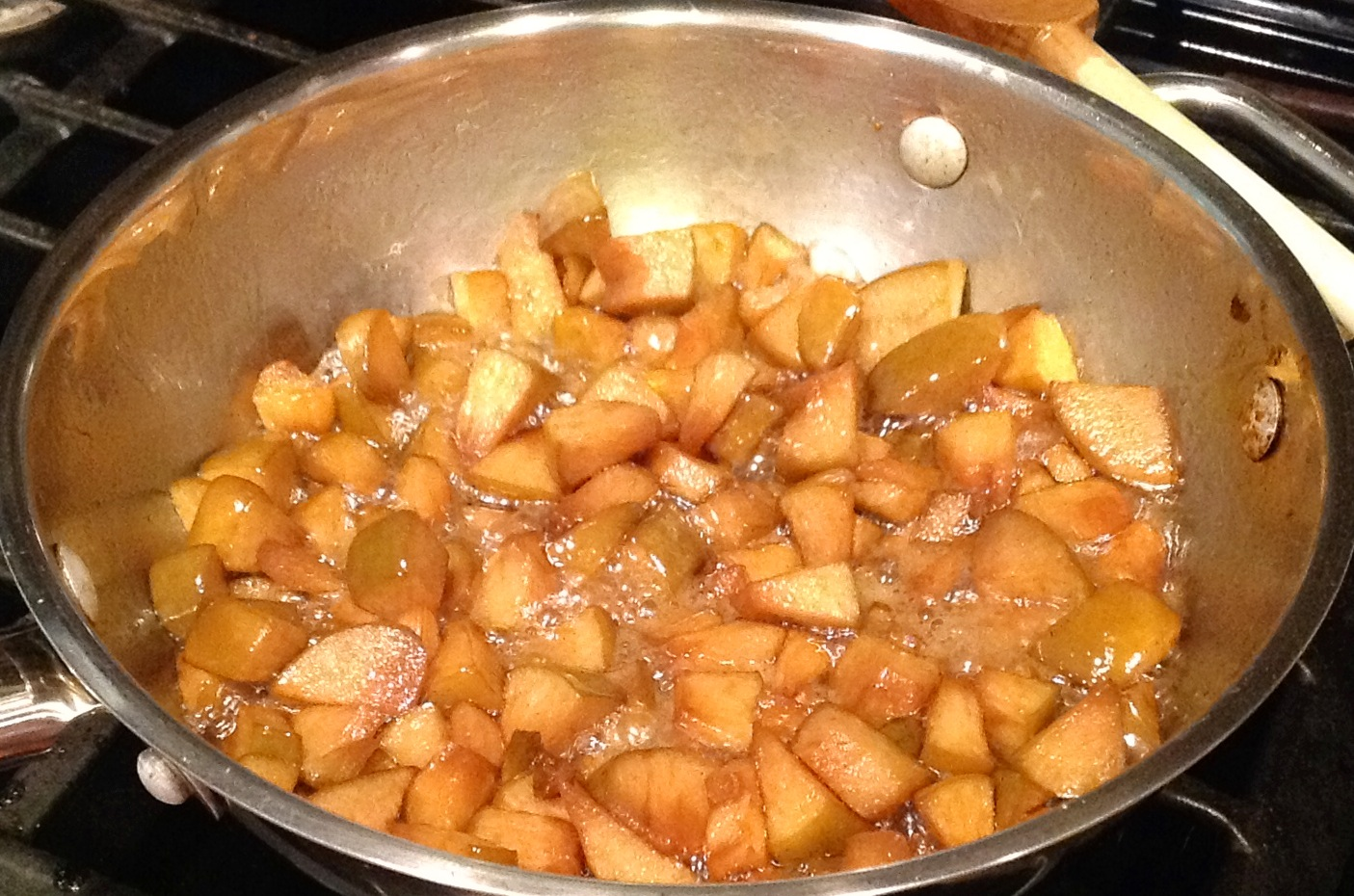 Bourbon-soaked apples strained from Apple Pie Bourbon